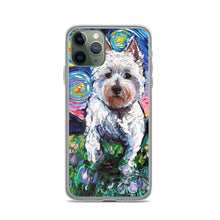 Load image into Gallery viewer, Westie Flowers Starry Night iPhone Case