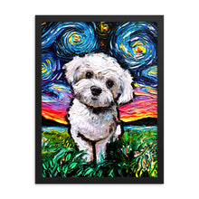 Load image into Gallery viewer, Maltipoo Night Framed Print