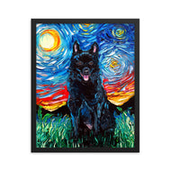 Schipperke Night Framed Photo Paper Poster