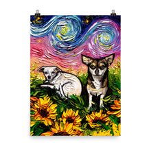 Load image into Gallery viewer, Chihuahuas and Sunflowers, Matte Poster Print