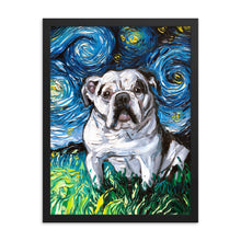 Load image into Gallery viewer, English Bulldog Night, White with Black Marks Framed Photo Paper Poster