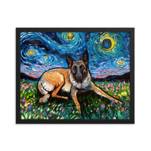Load image into Gallery viewer, Belgian Malinois Night Framed Print