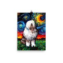 Load image into Gallery viewer, English Sheepdog Night Matte Poster Print
