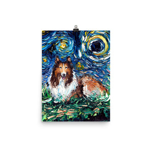 Collie Night Matte Poster Print