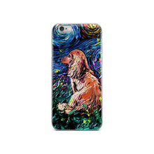 Load image into Gallery viewer, Dachshund Night, Brown Long Hair iPhone Case