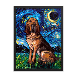 Bloodhound Starry Night Framed Photo Paper Poster