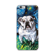 English Bulldog Night, White with Black Marks iPhone Case