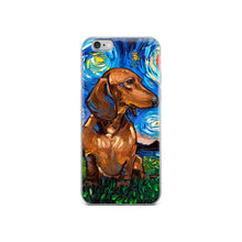Load image into Gallery viewer, Dachshund Night, Brown Short Hair iPhone Case