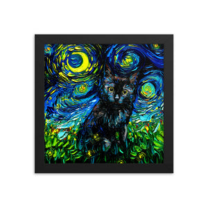 Black Cat Night 3 Starry Night Framed Photo Paper Poster