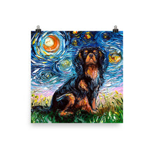 Load image into Gallery viewer, Cavalier King Charles Spaniel Night, Black and Tan Matte Poster Print