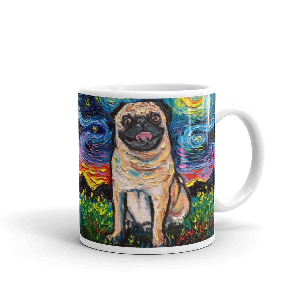 Pug Night, Happy Fawn Coffee Mug
