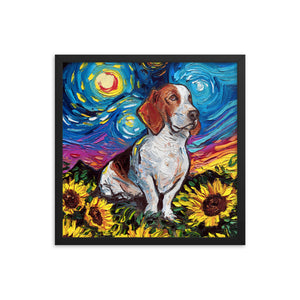 Basset Hound with Sunflowers Starry Night Framed Photo Paper Poster