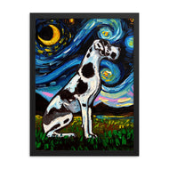 Great Dane Night, Harlequin Framed Print