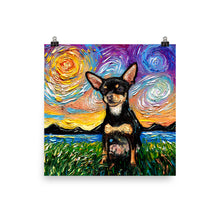Load image into Gallery viewer, Chihuahua Night, Black and Tan Short Hair Matte Poster Print