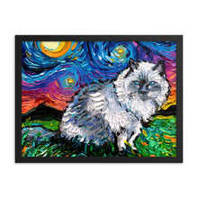 Load image into Gallery viewer, Ragdoll Cat Night Framed Photo Paper Poster