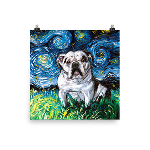English Bulldog Night, White with Black Marks Matte Poster Print