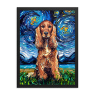 Cocker Spaniel Night, Red Version Framed Print