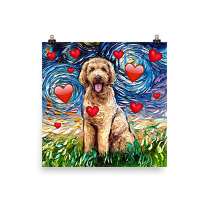 Goldendoodle Night with Hearts Matte Poster Print