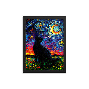 Black Cat Night Framed Photo Paper Poster
