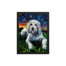 Load image into Gallery viewer, Goldendoodle Night, White Dog Framed Print