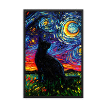 Load image into Gallery viewer, Black Cat Night Framed Photo Paper Poster