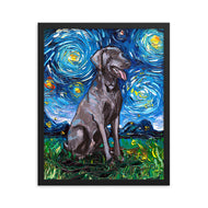 Weimaraner Night Framed Photo Paper Poster