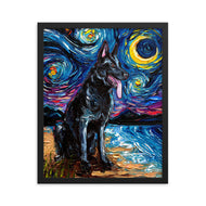 German Shepherd Night, Black Framed Print