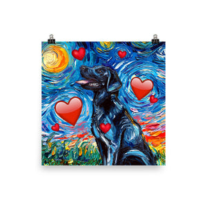 Labrador Night, Black with Hearts Matte Poster Print