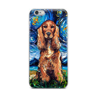 Cocker Spaniel Night, Red Version iPhone Case