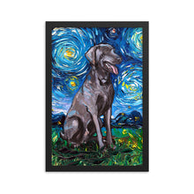 Load image into Gallery viewer, Weimaraner Night Framed Photo Paper Poster