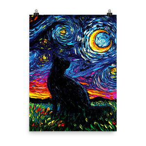 Black Cat Night, Matte Poster Print