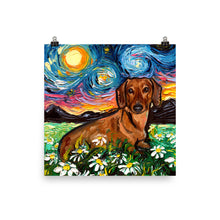 Load image into Gallery viewer, Dachshund with Flowers Matte Poster Print