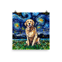 Load image into Gallery viewer, Golden Retriever Night Matte Poster Print
