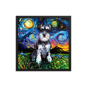 Schnauzer Night Framed Photo Paper Poster
