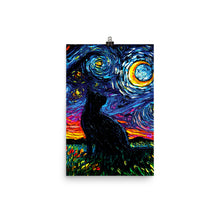 Load image into Gallery viewer, Black Cat Night, Matte Poster Print