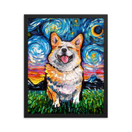 Corgi Night, Smiling Framed Print