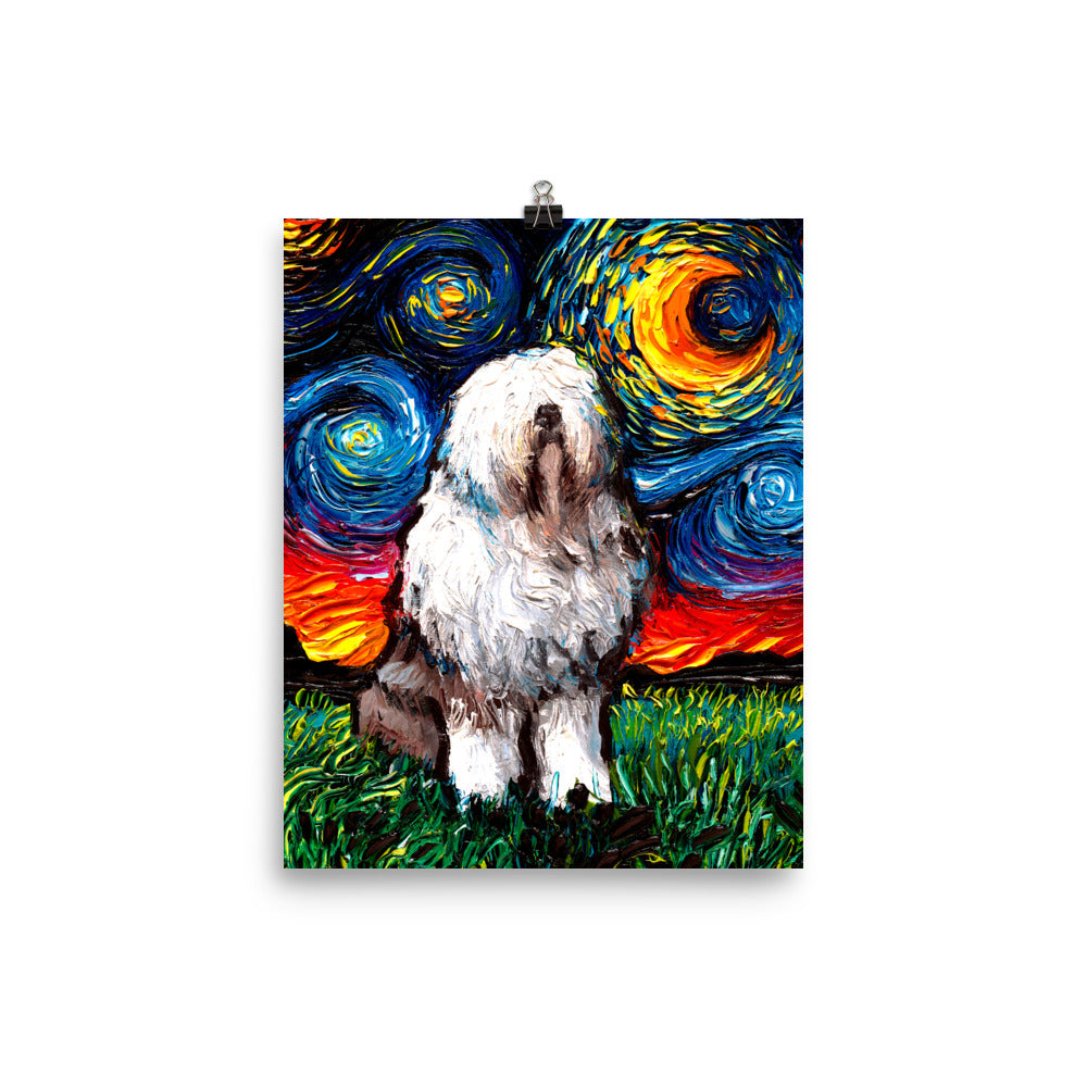 English Sheepdog Night Matte Poster Print
