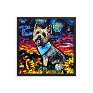 Silky Terrier Night Framed Print