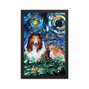 Collie Night Framed Photo Paper Poster