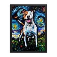 Pitbull Night, Happy Framed Print