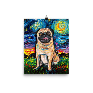 Pug Night, Happy Fawn Matte Poster Print