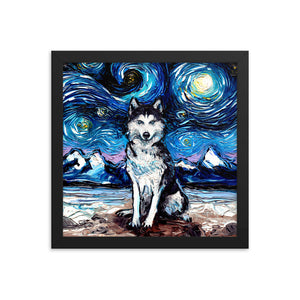 Husky Night Framed Print