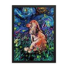 Load image into Gallery viewer, Dachshund Night, Brown Long Hair Framed Photo Paper Poster