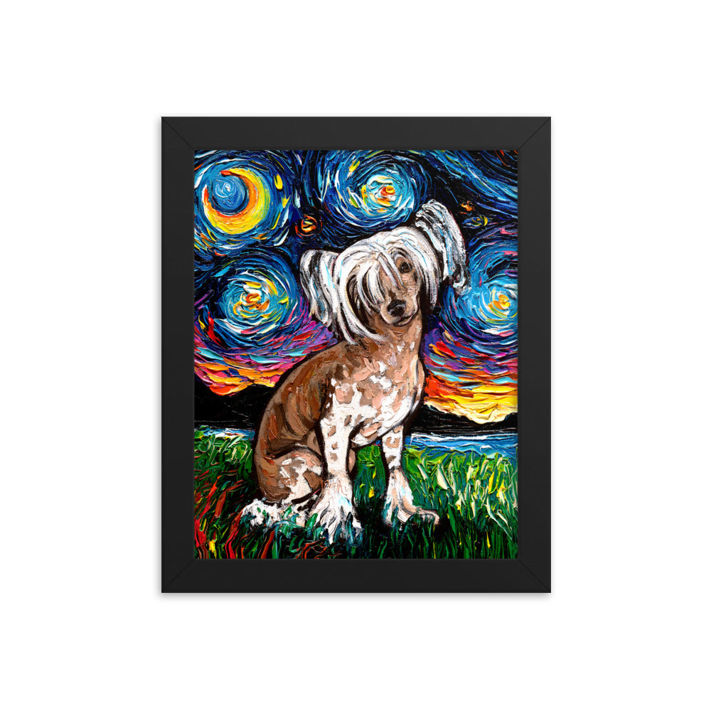 Chinese Crested Night Framed Photo Paper Poster