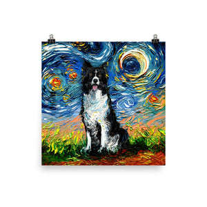 Border Collie Night 2 Matte Poster Print