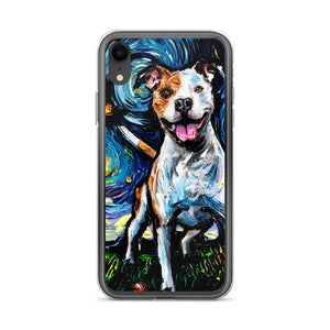 Pitbull Night, Happy iPhone Case