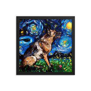 German Shepherd with Ball Starry Night Framed Print