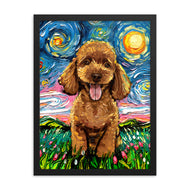Poodle Night, Apricot Framed Print