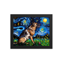Load image into Gallery viewer, German Shepherd with Ball Starry Night Framed Print