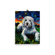 Goldendoodle Night, White Dog Matte Poster Print